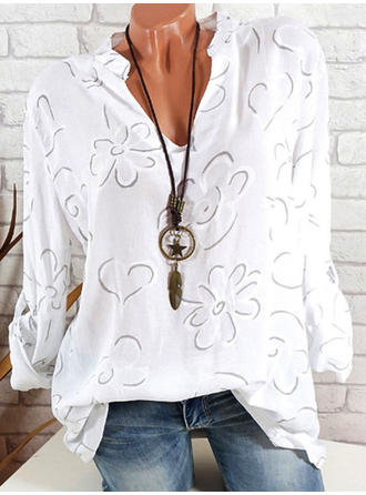 Floral V-Neck Long Sleeves Casual Elegant Shirt Blouses