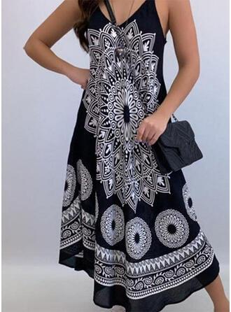 Print/Floral Sleeveless A-line Skater Boho/Vacation Maxi Dresses