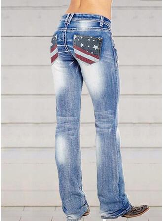 shirred Plus størrelse Elegant Sexet Denim & Jeans