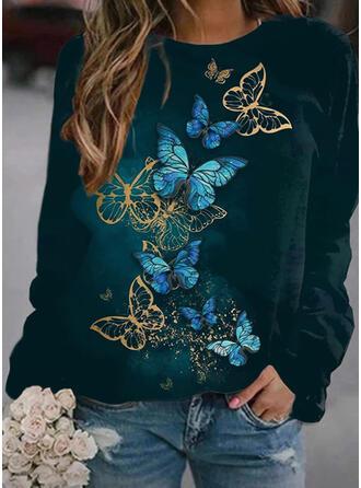 Estampado borboleta Gola Redonda Manga Comprida Moletons