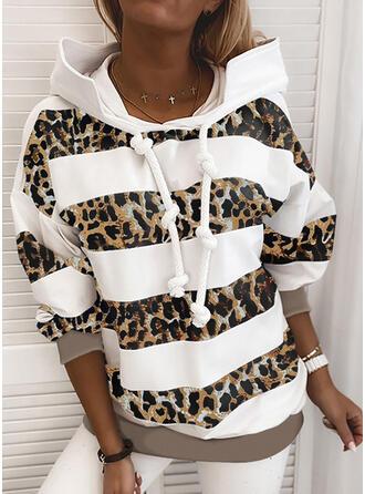 gestreift Leopard Lange Ärmel Kapuzen