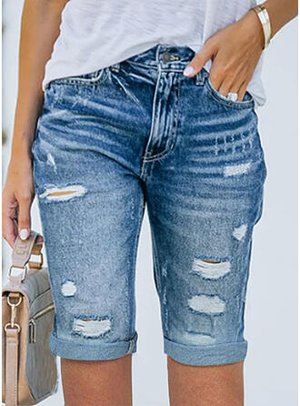 Sólido Jean Acima do joelho Sexy Tamanho positivo Bolso rasgado Calção Jeans