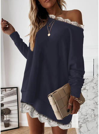 Lace Long Sleeves Shift Above Knee Casual Tunic Dresses