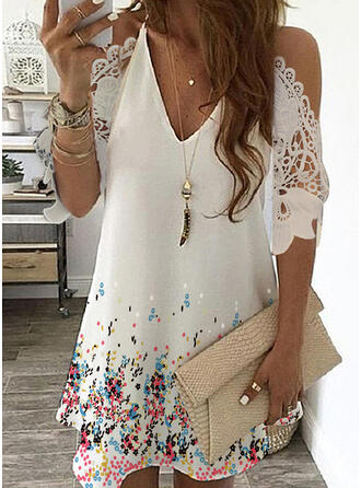 Lace/Print/Floral 3/4 Sleeves/Cold Shoulder Sleeve Shift Above Knee Casual Tunic Dresses