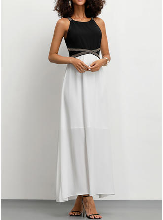 Color Block Sleeveless A-line Party Maxi Dresses