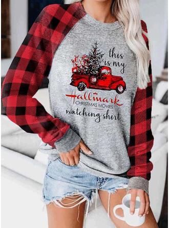 Print Grid Figur rund hals Lange ærmer Jule sweatshirt