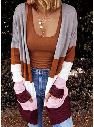 Color Block Striped Pocket Casual Cardigan
