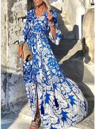 Print/Floral Long Sleeves A-line Casual/Vacation Maxi Dresses