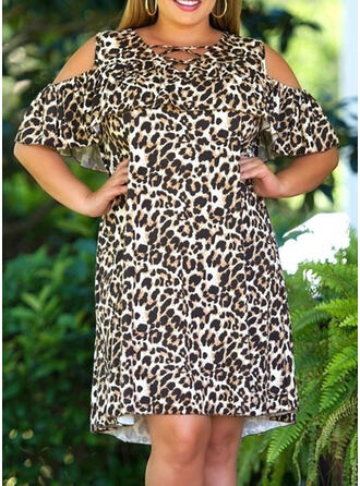 Plus Size Leopard 1/2 Sleeves Cold Shoulder Sleeve Shift Knee Length Casual Dress
