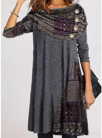 Print Long Sleeves Shift Knee Length Casual Tunic Dresses
