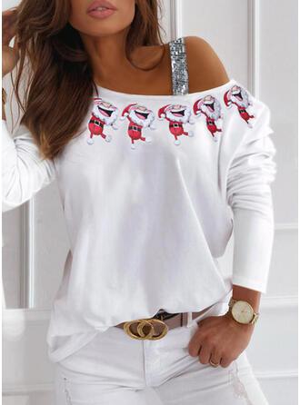 Print Pailletten One Shoulder Lange Mouwen Casual Kerstmis Overhemd