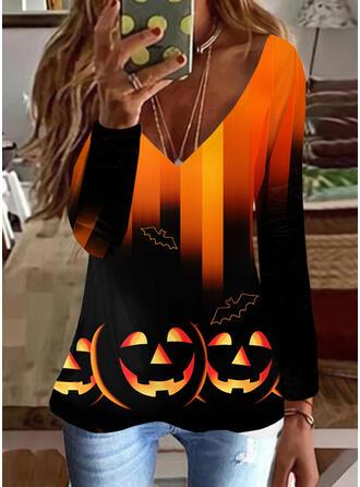 Halloween Pente Imprimé Faune Col V Manches Longues T-shirts