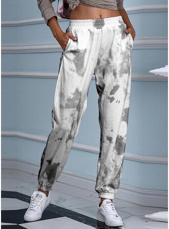 Nadruk Marszczona Tie Dye Nieformalny sportieve Joga Spodnie