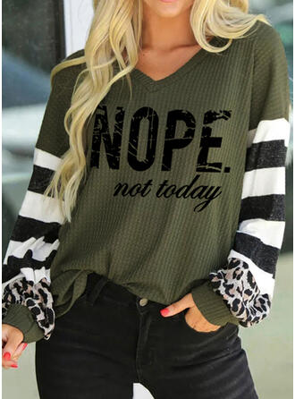 Print Striped Leopard Figure V-Neck Long Sleeves Casual Blouses