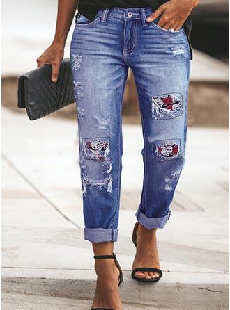 Tamanho grande Rasgada Franja dia das Bruxas Grandes Elegante Sexy Jeans