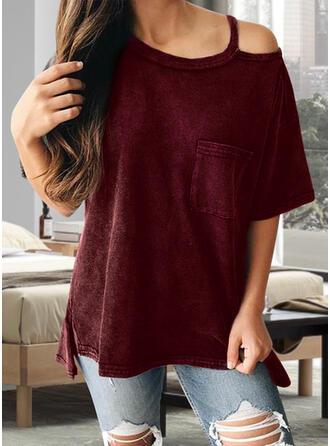 Jednolity Na jedno ramię Krótkie rękawy T-shirty