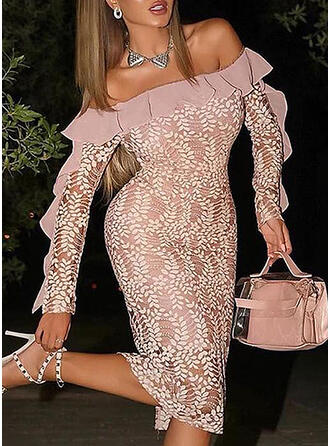 Lace/Solid Long Sleeves Bodycon Knee Length Party/Elegant Dresses