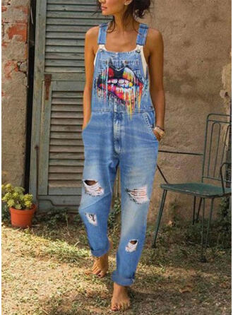 Print Riem Mouwloos Casual Jean Jumpsuit