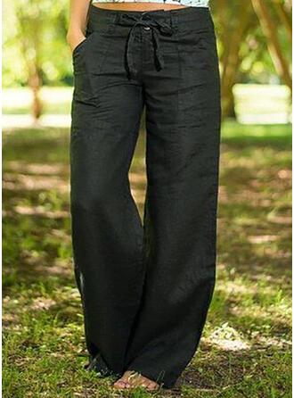 Pockets Bowknot Long Boho Casual Solid Pants