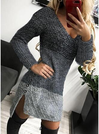 Bloque de Color Cuello en V Casuales Largo Ajustado Vestido de Suéter
