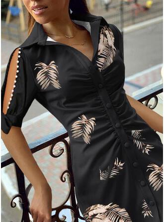 Print/Beaded 1/2 Sleeves/Split Sleeve Sheath Above Knee Casual Shirt Dresses