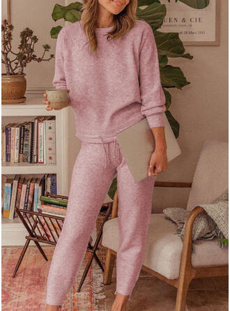 Solid Drawstring Casual Plain Stretchy Suits