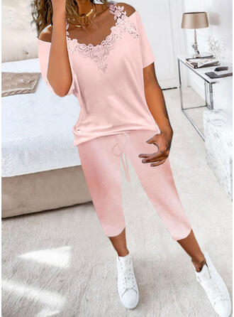 Pockets Solid Casual Plus Size Blouse & Two-Piece Outfits Set