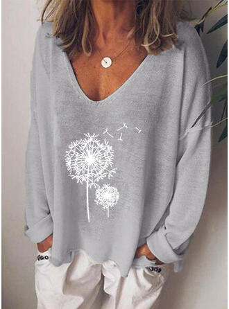 Dandelion Print V-Neck Long Sleeves T-shirts