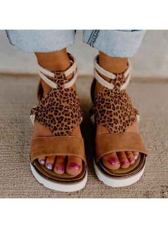 Pentru Femei Piele de Căprioară Platforme Înalte Sandale Platformă Platforme Puţin decupat în faţă cu Imprimeu Animal Splice Color pantofi