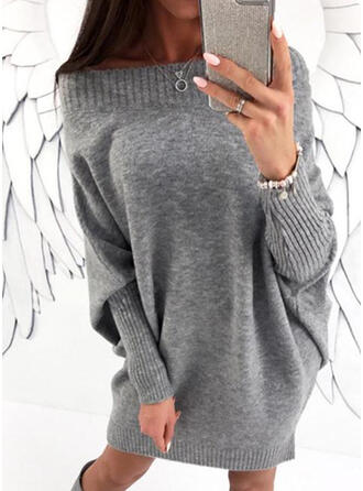 Solid Chunky knit Off the Shoulder Casual Long Sweater Dress