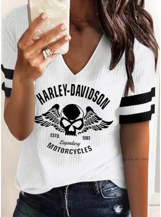 Figure Print Striped V-Neck Short Sleeves T-shirts