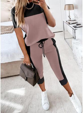 Color Block Neformální Plus velikost handsstring Kalhoty Dvoudílné outfity