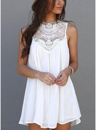 Lace/Solid Sleeveless Shift Above Knee Casual Dresses