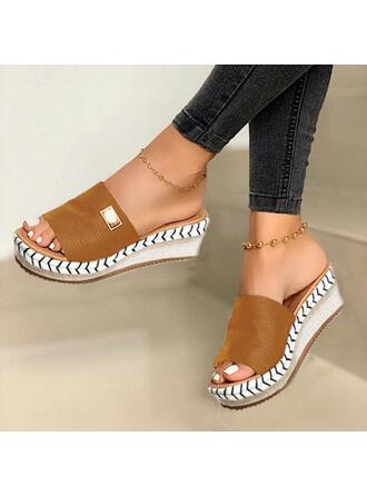 Mulheres Camurça Plataforma Sandálias Calços Peep toe Sapatos abertos Chinelos com Outros sapatos