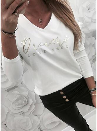 Figure Print V-Neck Long Sleeves T-shirts