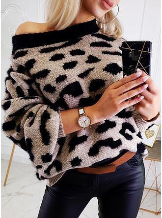 Leopardo Gola Redonda Casual Suéteres