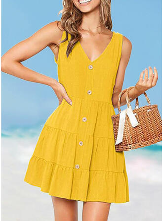 Solid Color Ruffles Strap V-Neck Classic Cute Plus Size Cover-ups Swimsuits
