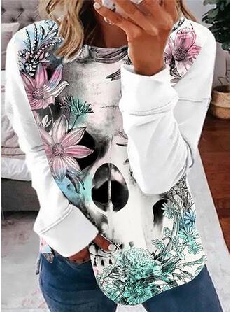 Estampado Floral Gola Redonda Manga Comprida Moletons
