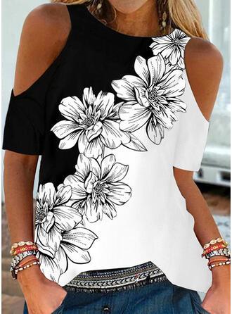 Color Block Květiny Tisk Odhalená Ramena Krátké rukávy Trička