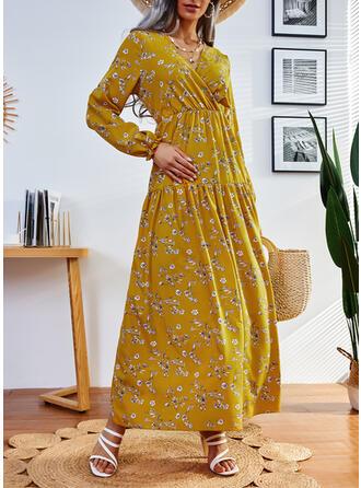 Imprimeu/Floral Mâneci Lungi Bir Çizgi Patenci gündelik Maxi Elbiseler