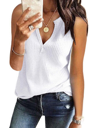 Solid V-Neck Sleeveless Casual Knit Tank Tops