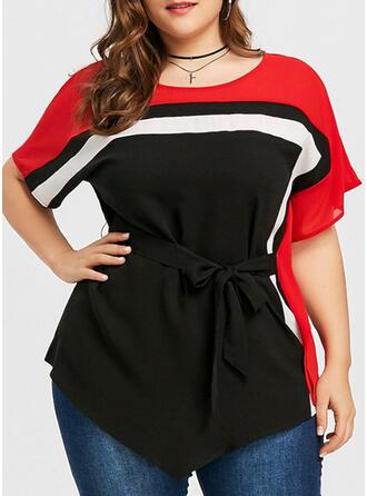 Farbblock Rundhalsausschnitt 1/2 Ärmel Lässige Kleidung Elegant Große Größen Blusen