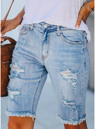 Solid Cotton Above Knee Casual Tassel Pocket Ripped Pants Shorts Denim & Jeans