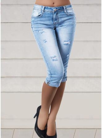 Pevný Bavlna Capris Sexy Plus velikost hlubokým výstřihem Bandáž Kalhoty Denim & Džíny