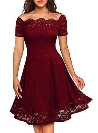 Lace/Solid Short Sleeves A-line Knee Length Vintage/Little Black/Party/Elegant Dresses