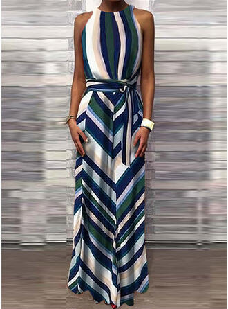 Print/Striped Sleeveless A-line Skater Casual Maxi Dresses