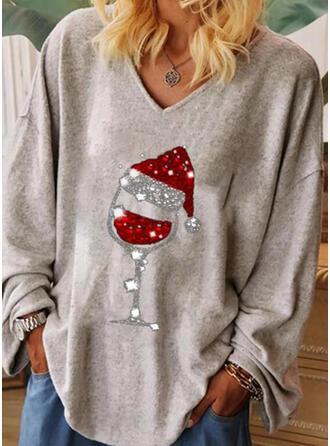 Print Sequins V-Neck Long Sleeves Christmas T-shirts