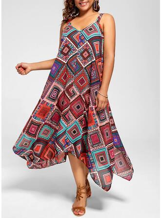 Pluss størrelse Trykk Ermeløs A-line kjole Asymmetrisk Avslappet Ferie Kle
