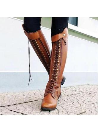 Mulheres Couro Salto robusto Botas com Rivet Zíper Aplicação de renda sapatos