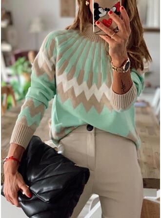Color Block Geometric Print Crew Neck Casual Sweaters
